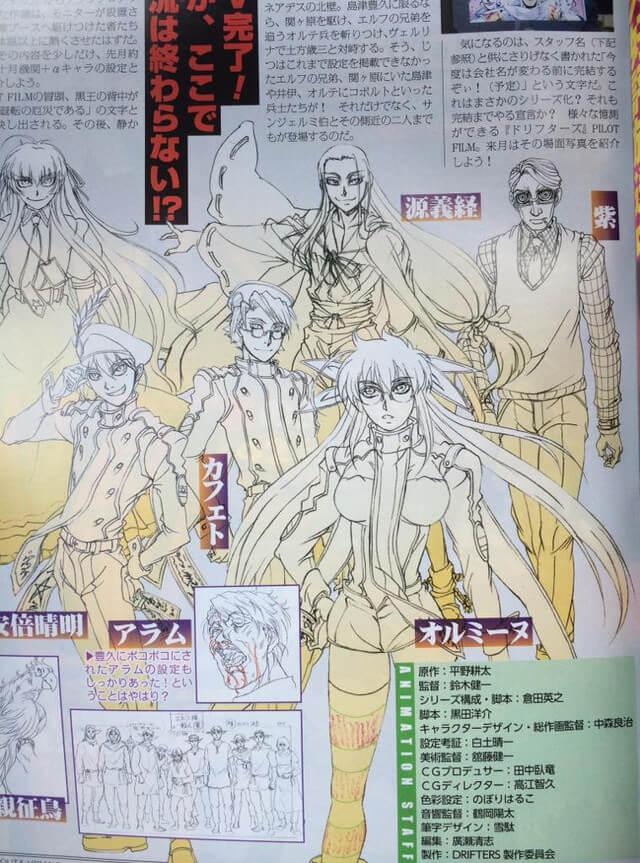 Drifters listou equipa técnica para o anime