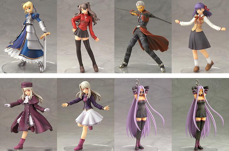 Trading figures de Fate Stay/Night, com uma versão especial da Rider como figura secreta.
