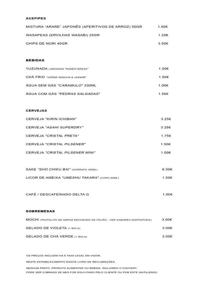 Ramen Break - Gastronomia Ramen Ementa 2