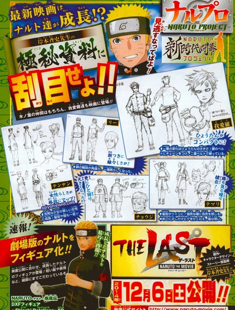 The Last: Naruto The Movie – Designs Gaara, Temari, Lee, Chōji