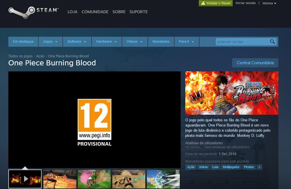 One Piece Burning Blood anunciou Chegada ao PC