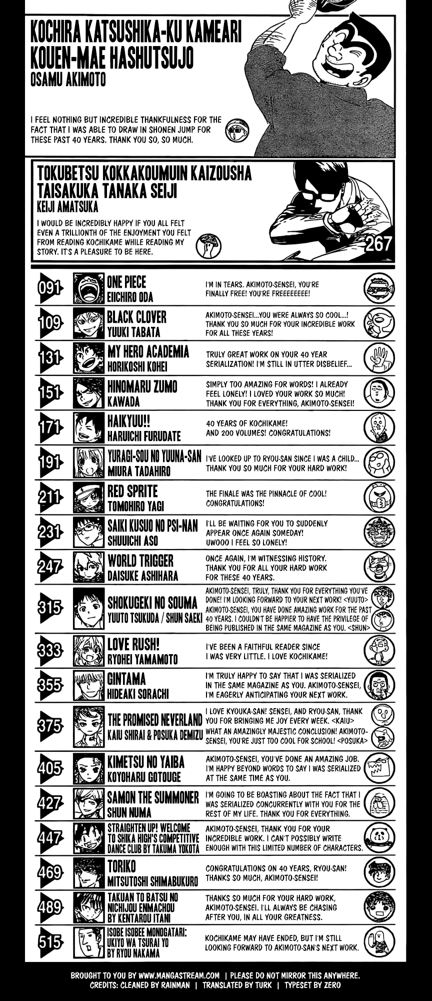 Shonen Jump Volume 42 ToC