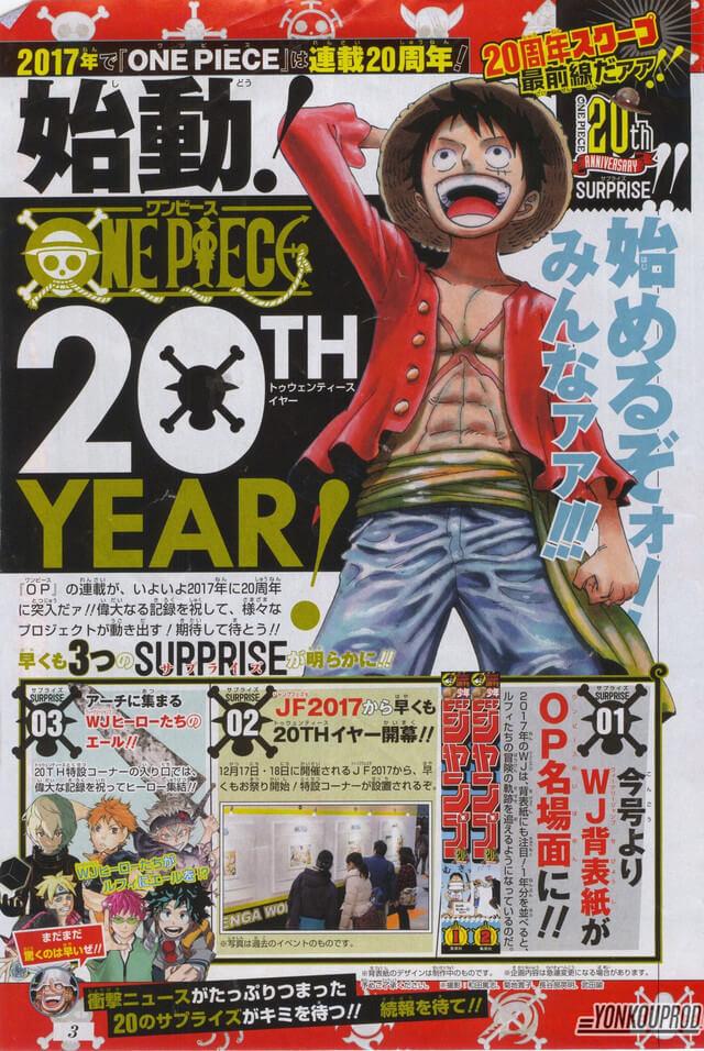 Manga One Piece com grandes planos para 20º Aniversário