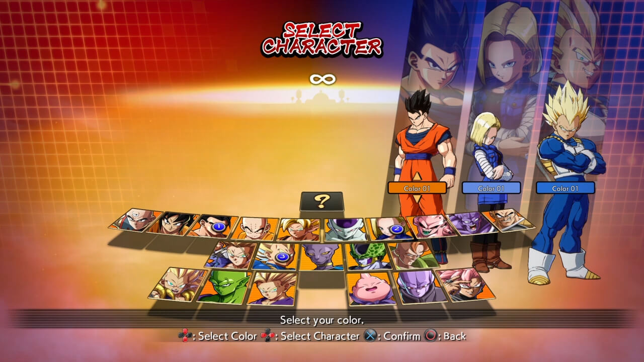 Dragon Ball FighterZ Character Selection