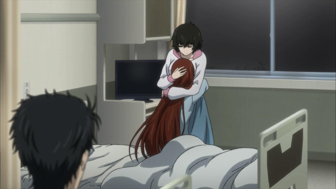 Steins;Gate 0 - opinião episódio 12 Kagari chora agarrada à Mayuri