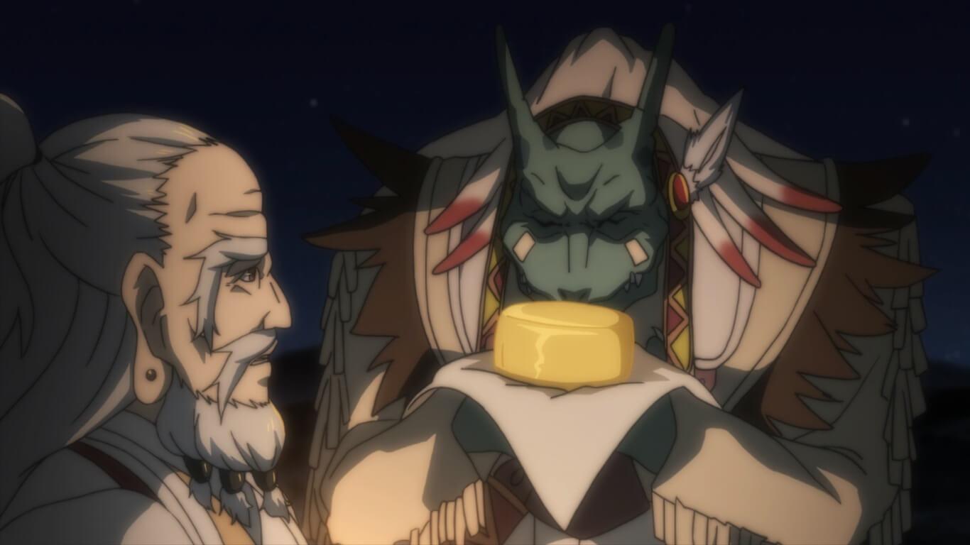 Goblin Slayer - Episódio 3 Opinião lizardman a cheirar o queijo