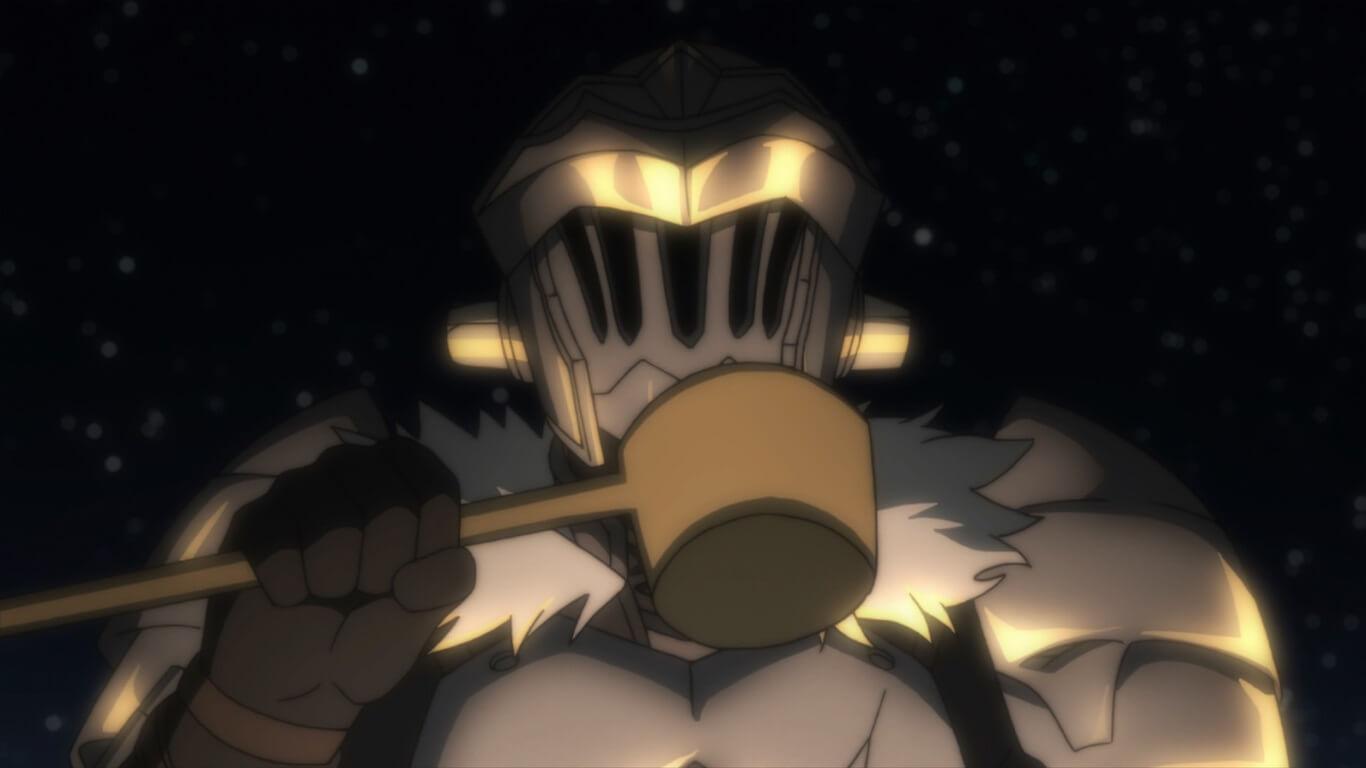 Goblin Slayer - Episódio 3 Opinião Goblin Slayer a beber a bebida dos anões