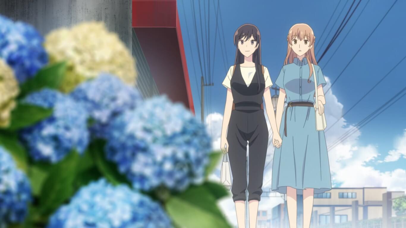 Bloom Into You - Episódio 8 Opinião saeko e touko de mãos dadas