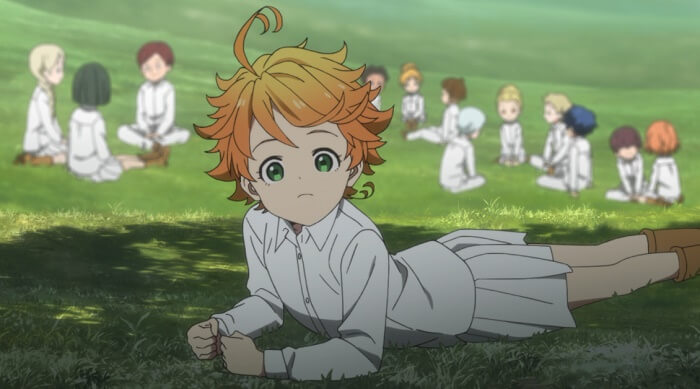 yakusoku no neverland episodio 1 emma ambiente e coloração