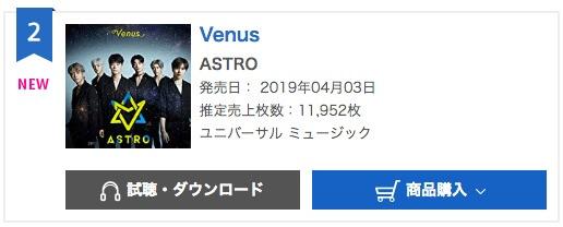 """ASTRO fazem Sucesso de Estreia no Japão com o álbum """"Venus"""" ao conseguirem a segunda posição no ranking diário de álbuns do Oricon"""