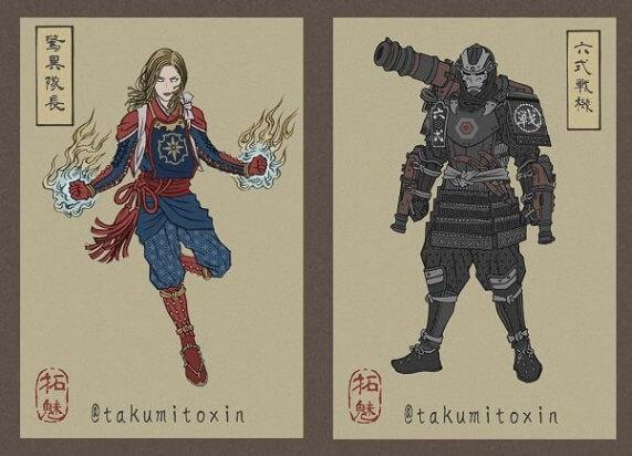 Avengers Endgame - Personagens no Estilo Japonês Ukiyo-e 5