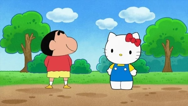 Hello Kitty e Shin-chan juntos no Início da Era Reiwa