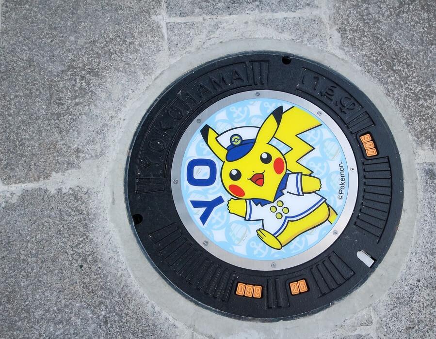 The Pokémon Company cria Tampas de Esgoto no Japão pikachu yokohama