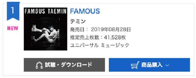 """Taemin - Artista domina Tabela Diária de Álbuns da Oricon com """"Famous"""""""