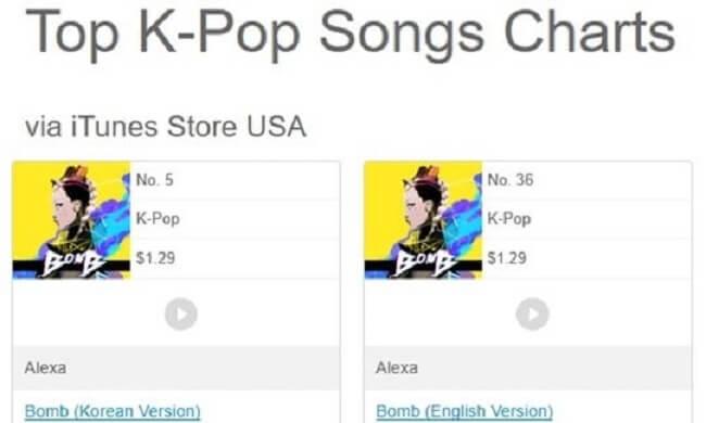 """AleXa estreia na tabela Top K-Pop Songs do iTunes com """"Bomb"""""""