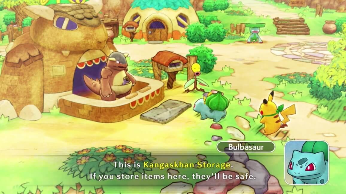 Pokémon Mystery Dungeon: Rescue Team DX - Bulsabaur a falar com Kangaskhan