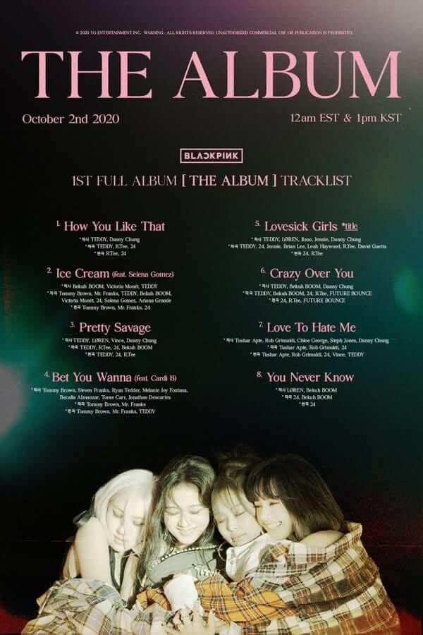 "BLACKPINK track list ""THE ALBUM"""