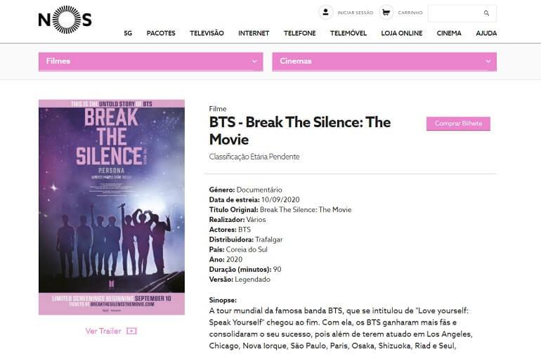 break the silence persona filme dos bts em portugal - cinema nos