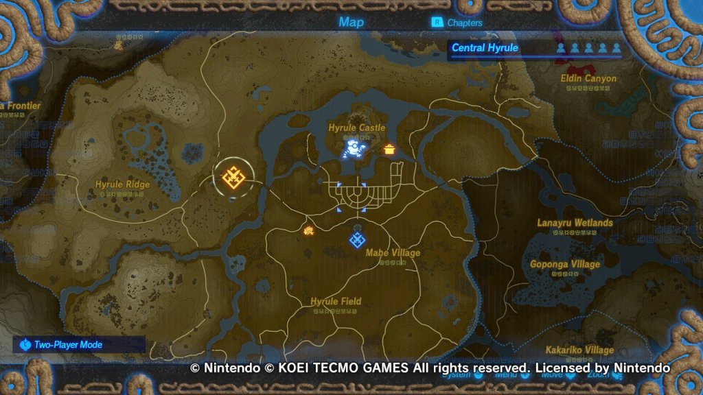 Hyrule Warriros Age of Calamity Mapa tela de seleção