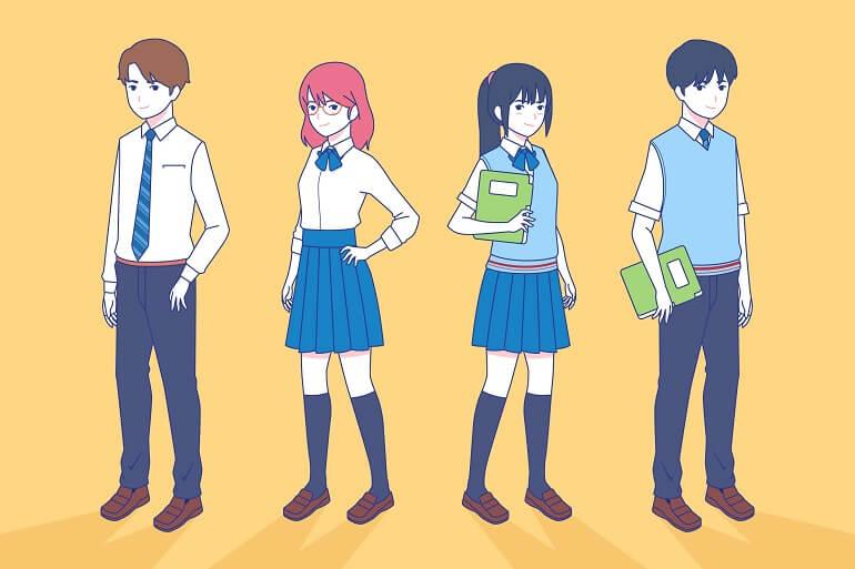 escolas japonesas estudantes anime estilo manga_freepik
