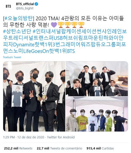 BTS vencem Daesang nos TMA pelo terceiro Ano Consecutivo