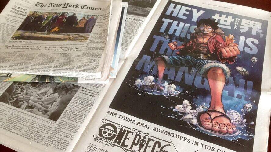 one piece manga ad new york times paper