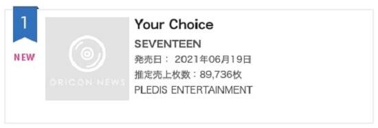 """SEVENTEEN no topo da Oricon com """"Your Choice"""""""