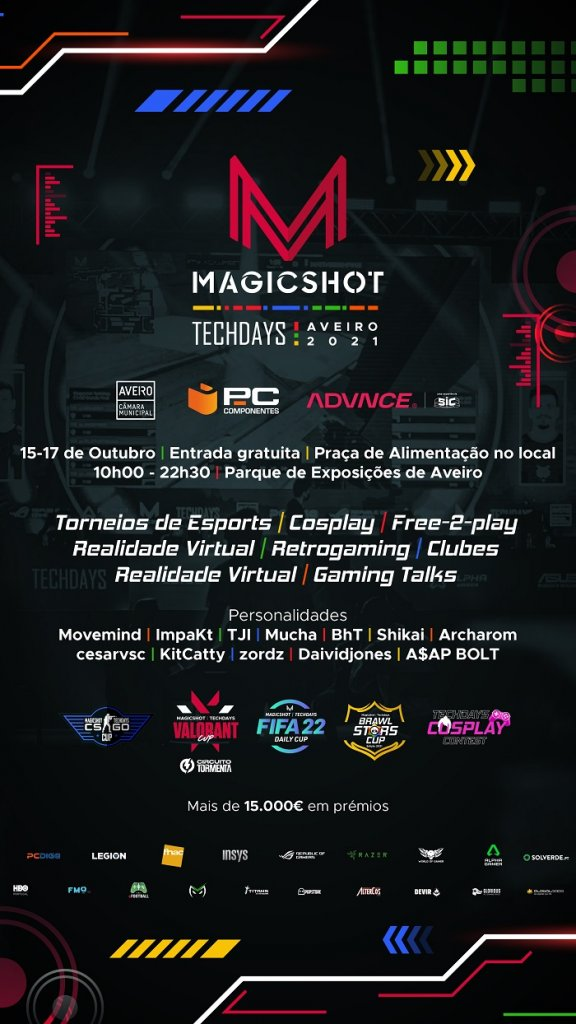 Magicshot Techdays Aveiro 2021 - Videojogos, Cosplay e muito mais!